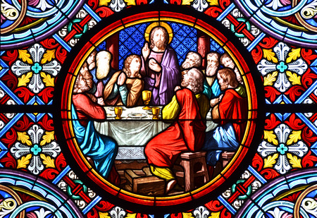 catholic stained glass: BASEL, SWITZERLAND - November 3, 2014: Nativity Scene. Stained glass window in the Cathedral of Basel, Switzerland