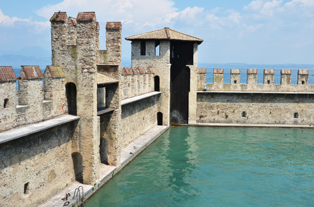 sirmione: Old fortress of Sirmione town, Garda lake, Italy