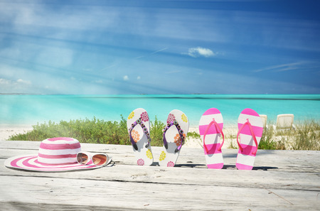beach scene: Beach scene, Great Exuma, Bahamas Stock Photo