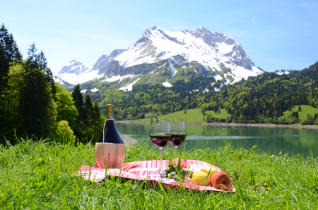 onion valley: Wine and vegetables served at a picnic in Alpine meadow. Switzerland