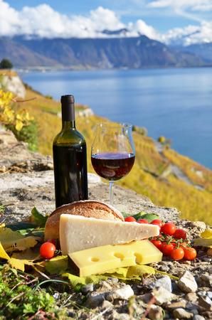 chese: Wine and chese. Lavaux region, Switzerland Stock Photo