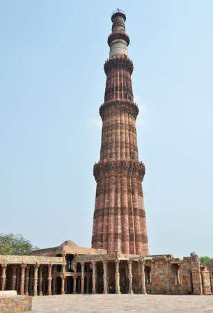 new delhi: Qutub Minar Tower in New Delhi, India Stock Photo