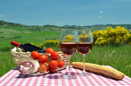 toscana: Red wine, bread and tomatos on the chequered cloth against Tuscan landscape. Italy