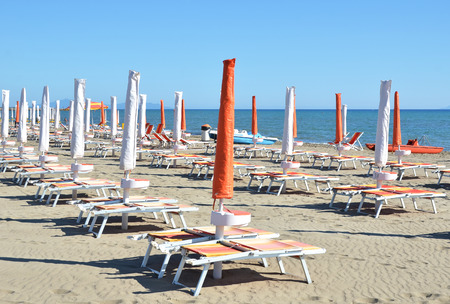 brolly: Beach umbrellas in Marina di Grosetto, famous Italian resort