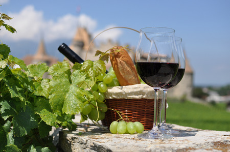 Wine and grapes. Chateau de Aigle, Switzerland Stock Photo