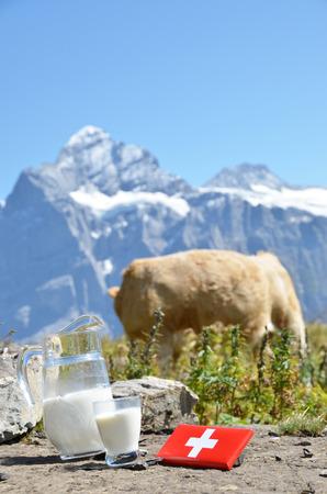 verre de lait: Chocolat suisse et une cruche de lait sur la prairie alpine. Suisse
