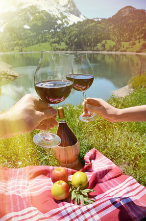 food and wine: Wine and fruits served at a picnic in Alpine meadow. Switzerland