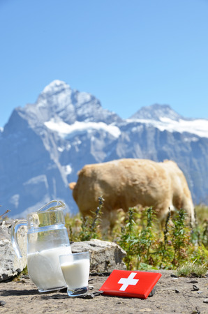 jag: Swiss chocolate and jug of milk on the Alpine meadow. Switzerland Stock Photo