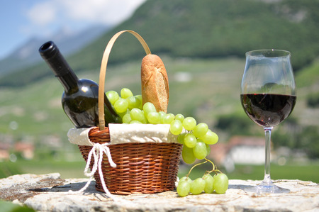 grapes wine: Wine and grapes. Chateau de Aigle, Switzerland Stock Photo