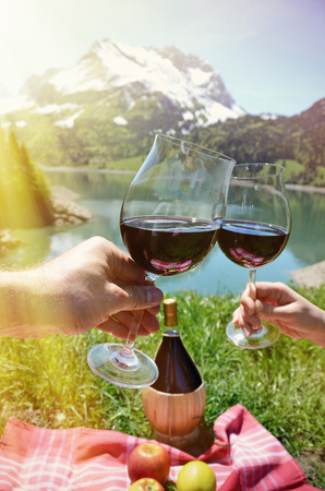 hand basket: Wine and fruits served at a picnic in Alpine meadow. Switzerland
