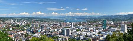 zurich: Panorama of Zurich, Switzerland Stock Photo