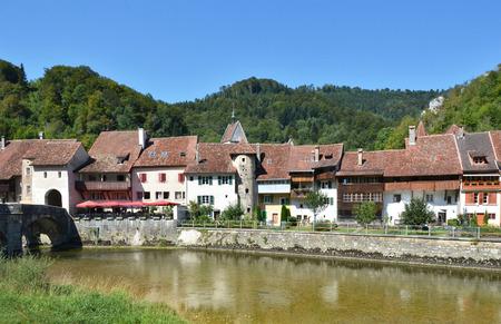 jura: Saint Ursanne town. Canton Jura, Switzerland Stock Photo