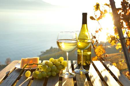 wine grape: Wine and cheese against Geneva lake, Switzerland Stock Photo