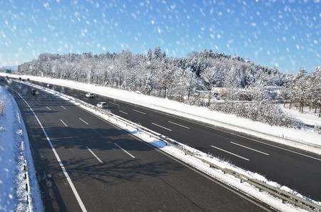 highway traffic: Winter highway
