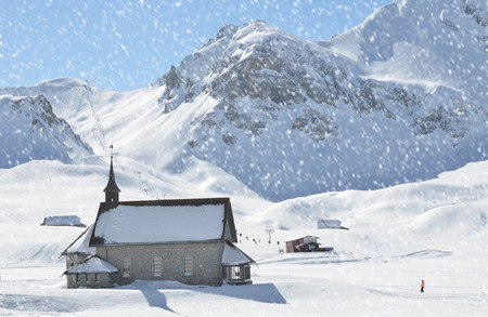 covered in snow: Melchsee-Frutt. Switzerland Stock Photo