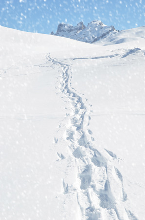 dint: Footsteps on the snow. Melchsee-Frutt, Switzerland Stock Photo