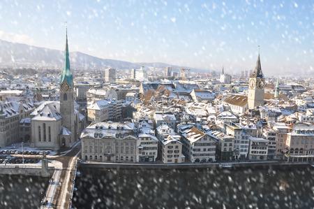 zurich: Winter view of Zurich
