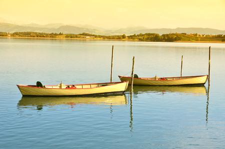 Pleasure boats on Pfaeffikon lake, Switzerland Stock Photo