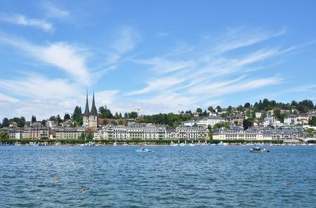 gabled: Panorama of Lucerne, Switzerland Stock Photo