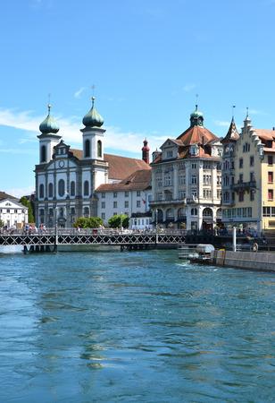 gabled: Jesuit church in Luzern, Switzerland Stock Photo