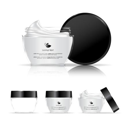 pote: Contenedor de crema aisladas sobre fondo blanco. Botella de vidrio cosmética para la crema, gel. Paquete de productos de belleza. Ilustración del vector.