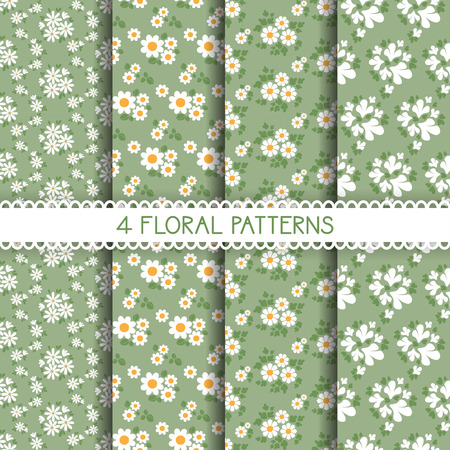 green cute: Set of seamless flower patterns. Cute floral textures, white and green. Vector illustration.