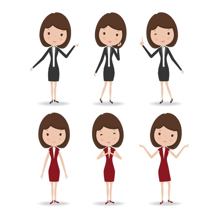 emotion expression: Business woman character, vector illustration.