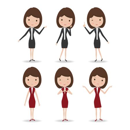 zakelijke vrouw: Business woman character, vector illustration.