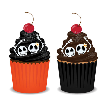 spider webs: Halloween cupcakes with skeleton, spider webs and cherry. Cute cupcakes for the Halloween party, vector illustration. Illustration