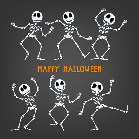 Conjunto de esqueleto bailando. Esqueleto de Halloween con expresiones diversas. Ilustración del vector.