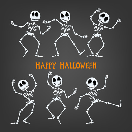 Set of dancing skeleton. Halloween skeleton with assorted expressions. Vector illustration. Ilustração