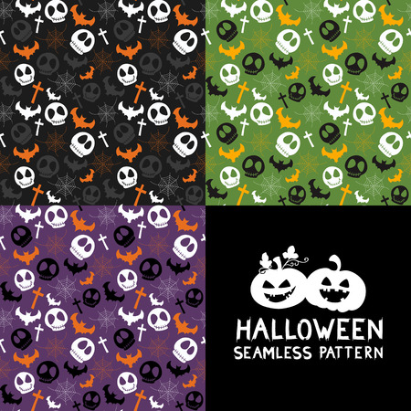 spider webs: Set of Halloween seamless patterns. Halloween seamless background with spider webs, bats, skull, cross. Cute Halloween textures. Vector illustration. Illustration