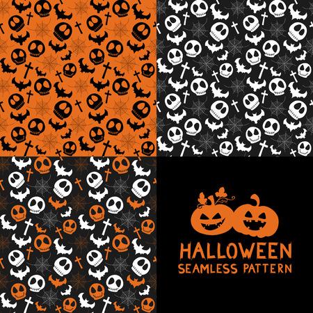 haunting: Set of Halloween seamless patterns. Halloween seamless background with spider webs, bats, skull, cross. Cute Halloween textures. Vector illustration. Illustration