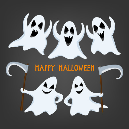 ghost face: Set of halloween ghosts. Halloween ghost with assorted expressions. Vector illustration.
