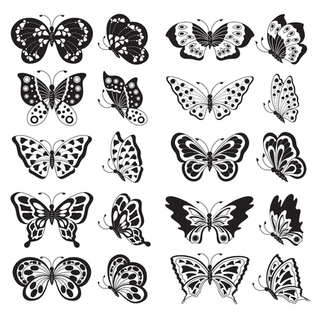 black butterfly: Set of black butterfly silhouettes