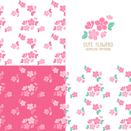 Set of seamless pink flowers patterns cute floral texture vector set of seamless pink flowers patterns cute floral texture vector illustration stock vector mightylinksfo