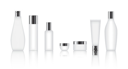 Cosmetic bottle set for liquid, cream, gel, lotion. Skin care product package, vector illustration.