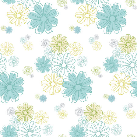 Seamless flowers pattern, cute floral texture, vector illustration. Çizim