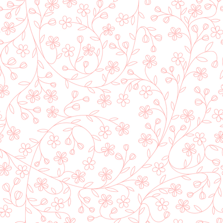 Seamless little daisy flower pattern, cute floral background, vector illustration. Ilustração