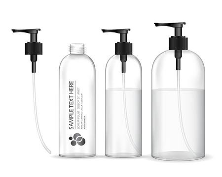 Kosmetische Plastikflasche mit schwarzer Spenderpumpe (transparent). Flüssigkeitsbehälter für Gel, Lotion, Creme, Shampoo, Badeschaum. Schönheitsproduktpaket, Vektorillustration.