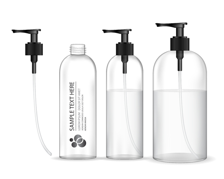 Cosmetic plastic bottle with black dispenser pump (transparent). Liquid container for gel, lotion, cream, shampoo, bath foam. Beauty product package, vector illustration.