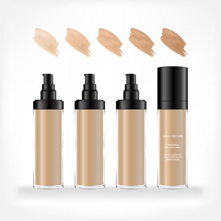 Foundation-Creme-Behälter isoliert auf weißem Hintergrund. Kosmetische Glasflasche (transparent). Schönheitsproduktpaket, Vektorillustration.