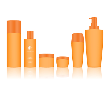 Cosmetic Bottle Set isolated on white background. Cosmetic bottle for liquid, cream, gel, lotion. Skin care product package, vector illustration.