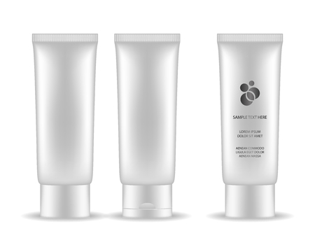 Plastic tube for cosmetic package isolated on white background. Beauty product package, vector illustration. Иллюстрация
