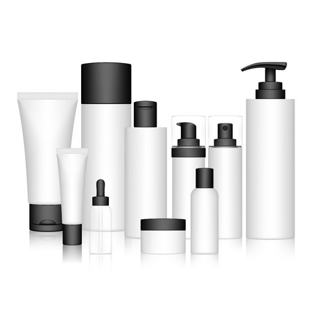 Cosmetic Bottle Set isolated on white background. Skin care bottles for liquid, cream, gel, lotion. Beauty product package, vector illustration. Иллюстрация