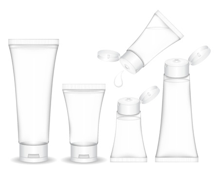 Cosmetic plastic tube isolated on white background. Cosmetic container for gel, liquid, foam. Beauty product package, vector illustration.