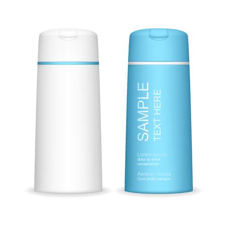 Shampoo-Flasche isoliert auf weißem Hintergrund. Kosmetikflasche für Flüssigkeit, Shampoo, Badeschaum. Schönheitsproduktpaket, Vektorillustration. Vektorgrafik