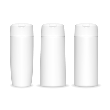 Shampoo bottle isolated on white background. Cosmetic bottle for liquid, shampoo, bath foam. Beauty product package, vector illustration. Иллюстрация