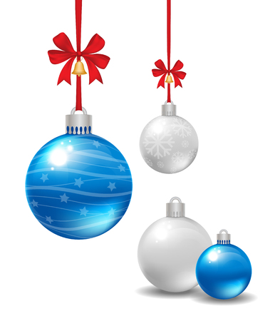 Christmas balls with red ribbon and bow isolated on white background. Vector illustration. Иллюстрация