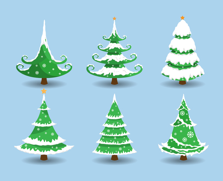 Christmas tree with snow. Vector illustration.